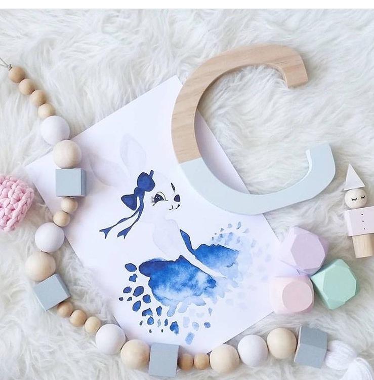 NEW: Ballerina Bunny Print, Blue. A4.