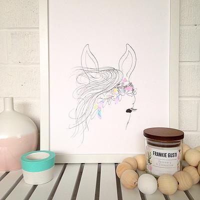 NEW: Horse with pastel petals, A3