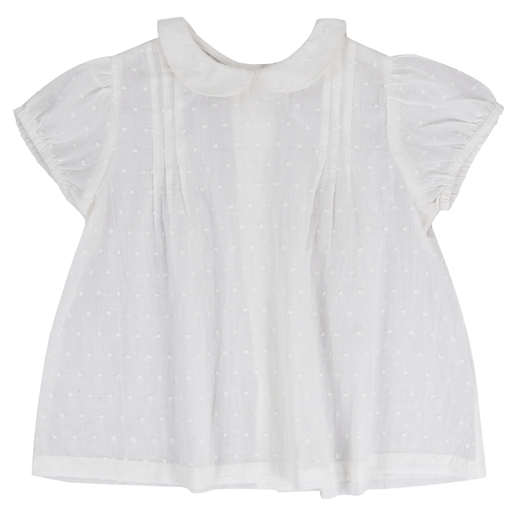 Dobby white spotted blouse, organic cotton