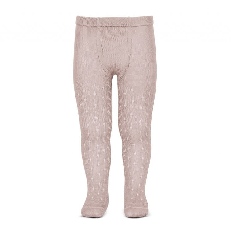 Perle crochet tights, Dusty rose