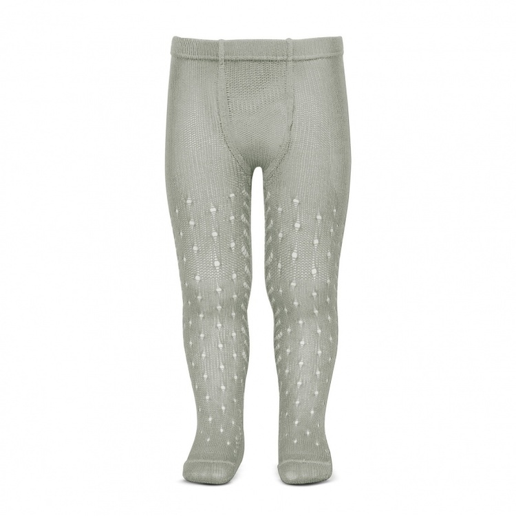 Perle crochet tights, light silver