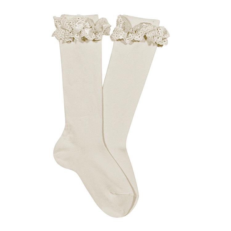 Vintage lace knee socks, ivory