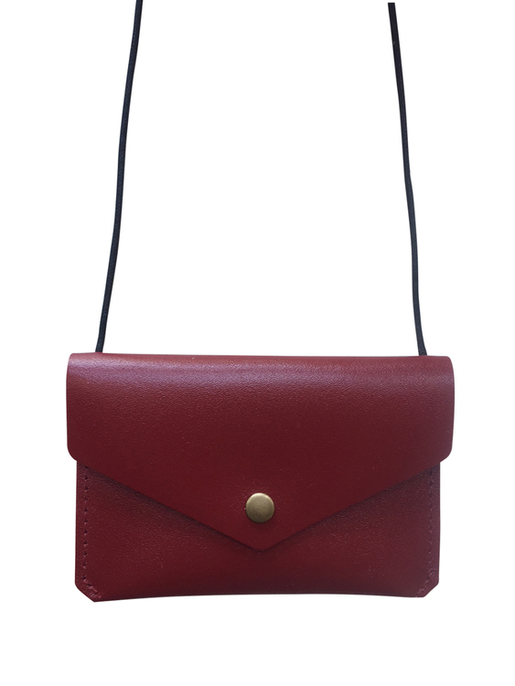 Leather envelope purse, Burgandy