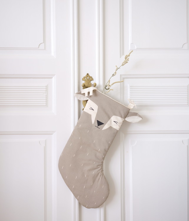 NEW! Christmas Stocking sleepy deer, Fabelab