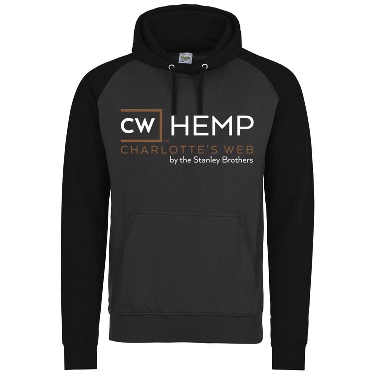 CW HEMP Hoodie, grå/svart, tryck i guld/vitt