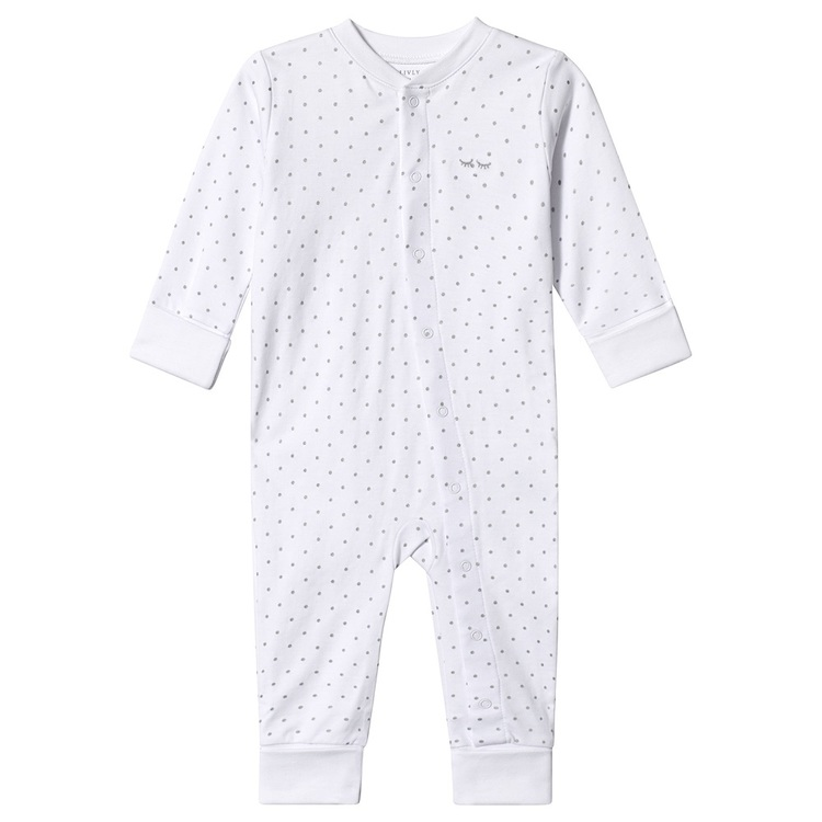 Livly Saturday Overall White/Silver Dots