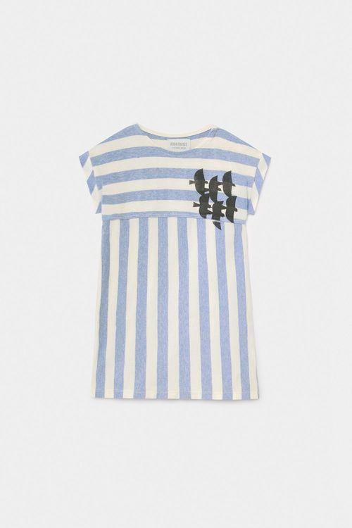 BOBO CHOSES Flying Birds Striped T-Shirt Dress