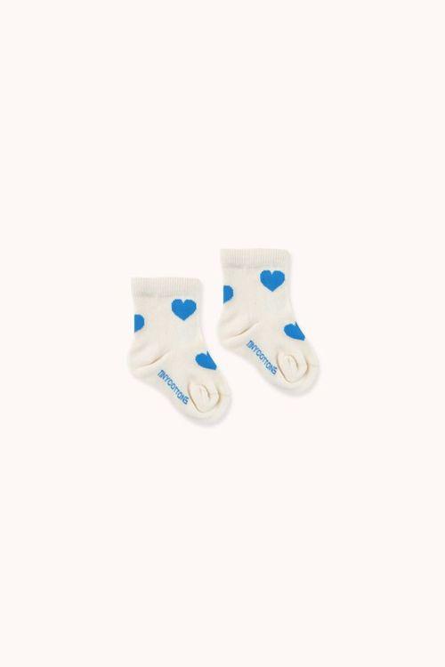 TINYCOTTONS Hearts Medium Socks Light Cream/Cerulean Blue