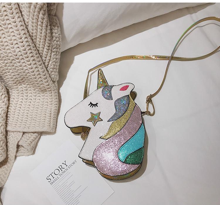 Glittrig Unicorn Enhörning Axelremsväska Gold