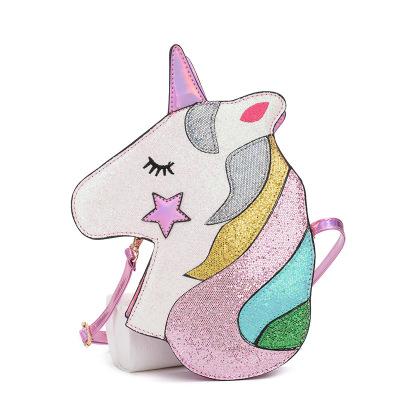 Glittrig Unicorn Enhörning Axelremsväska Rosa