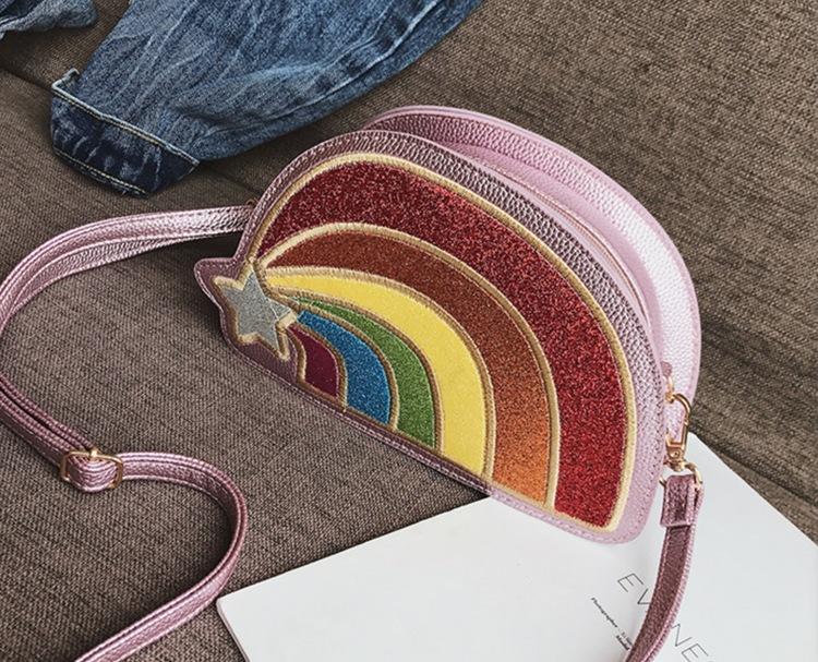 Glittrig Rainbow Väska Rosa