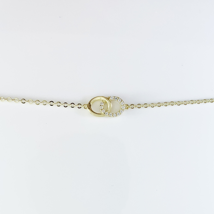 Armband [DOUBLE RINGS] med cz-stenar 18K guld