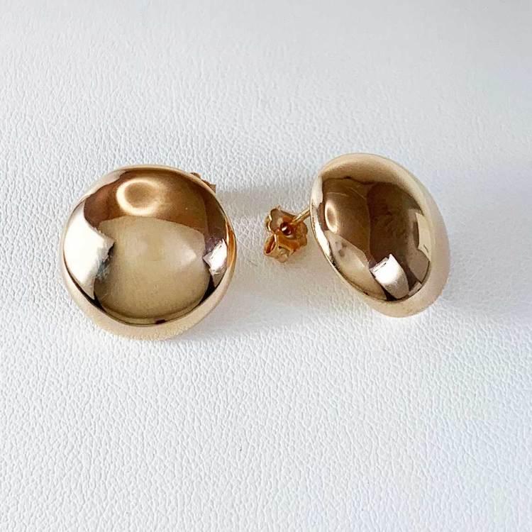 Örhängen [Round button] i roséförgyllt 925 silver