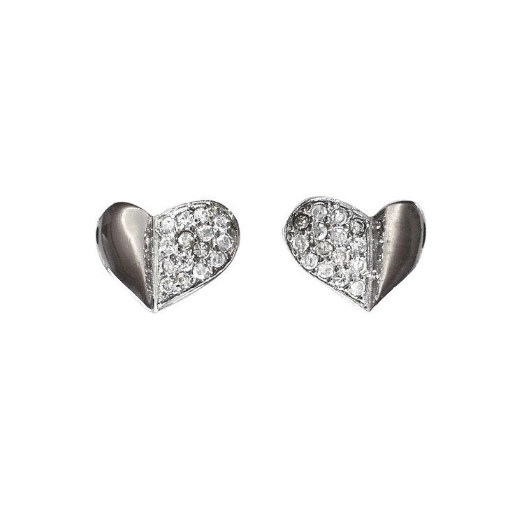 Örhängen [HEART] i 925 silver med cz-stenar