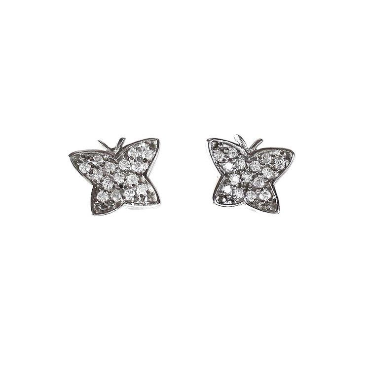 Örhängen Sparkling Butterfly Rhodinerat Silver