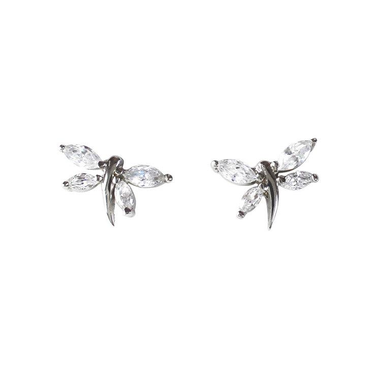 Söta örhängen Sparkling Dragonfly i rhodinerat silver från Catwalk Jewellery
