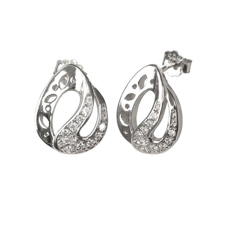 Örhängen i rhodinerat 925 silver med cz-stenar