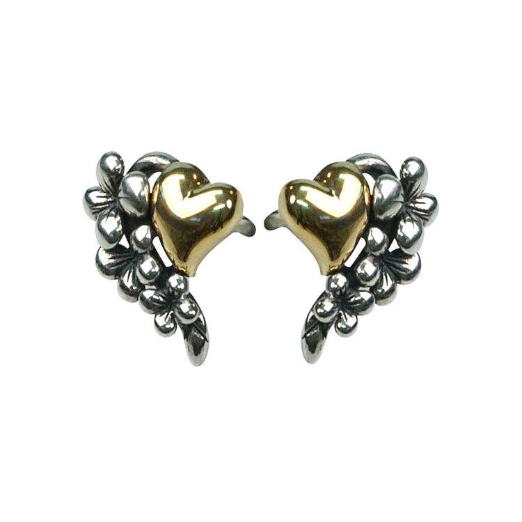Snygga örhängen i oxiderat silver Black/Gold Heart & Flower från Catwalk Jewellery