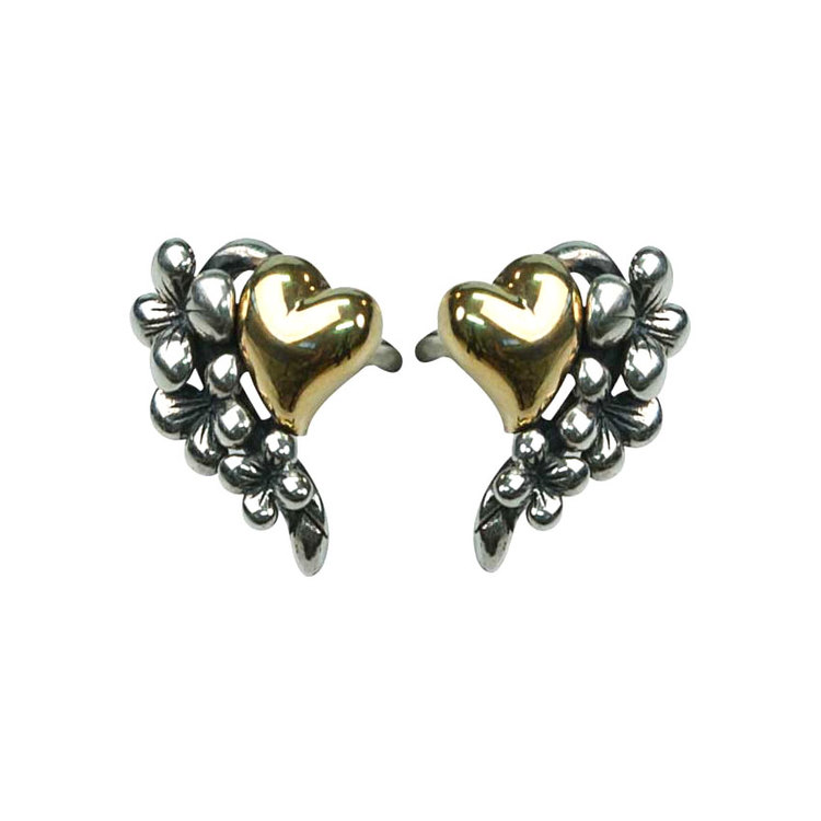 Örhängen Black/Gold Heart & Flower Silver