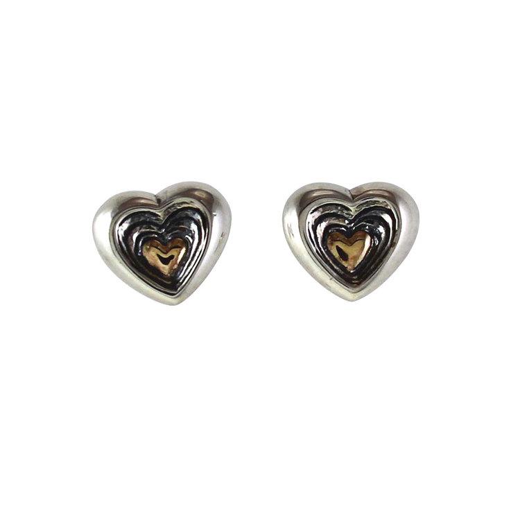 Örhängen Gold Heart Oxidized Silver