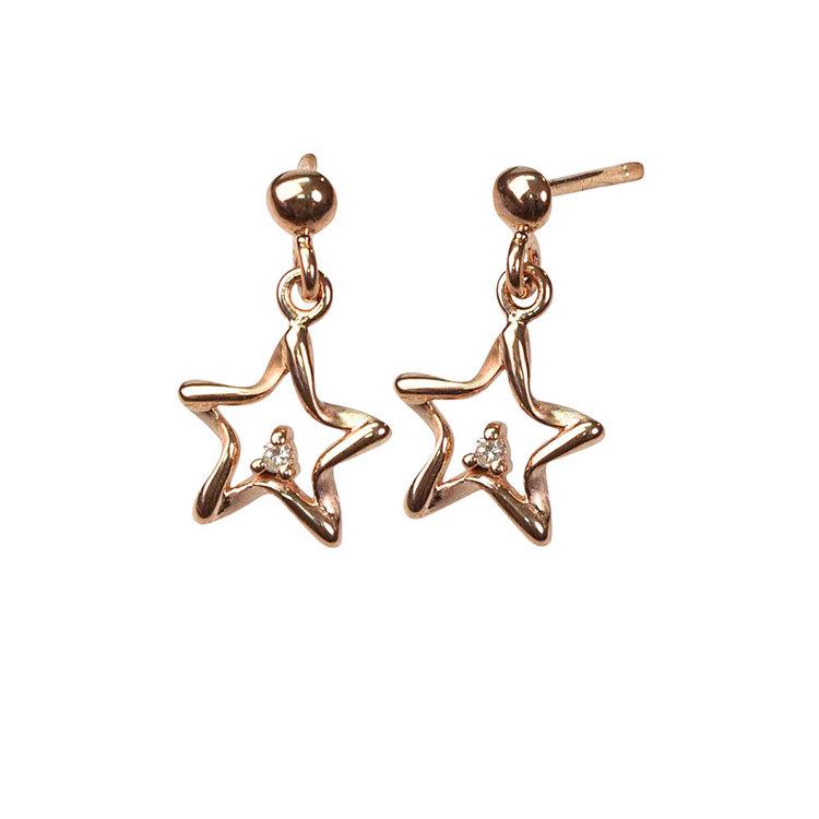 Örhängen [STARS] roséguldpläterad med cz-stenar i 925 silver