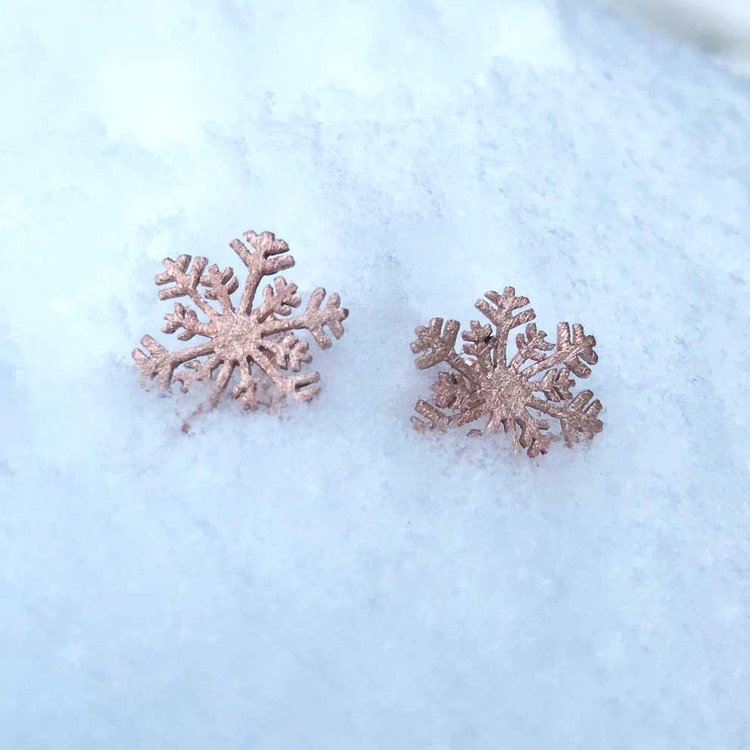 Örhängen Snowflake Pink Gold Brushed Silver