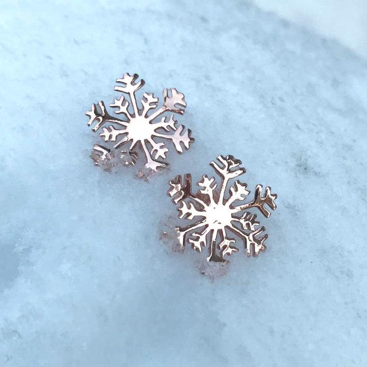 Fasta örhängen [SNOWFLAKE] i 925 sterlingsilver - Pink Gold