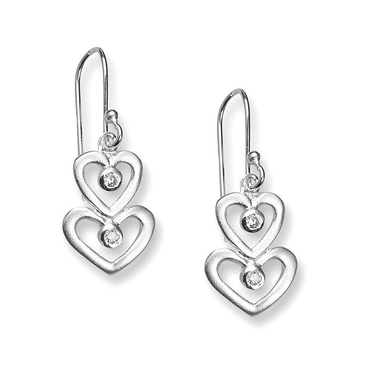 Örhängen Two Hearts Sparkling Silver