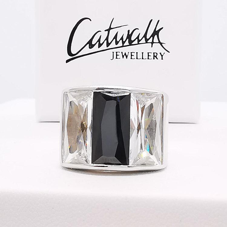 Ring [BLACK/WHITE] med cz-stenar i 925 silver