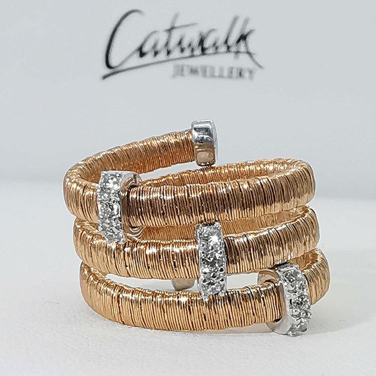 snygg ring i roseförgyllt silver Aurora från Catwalk Jewellery