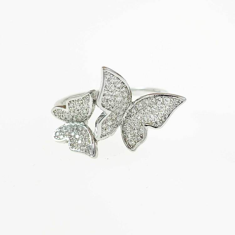 Ring [BUTTERFLY] med gnistrande cz-stenar i rhodinerat 925 silver