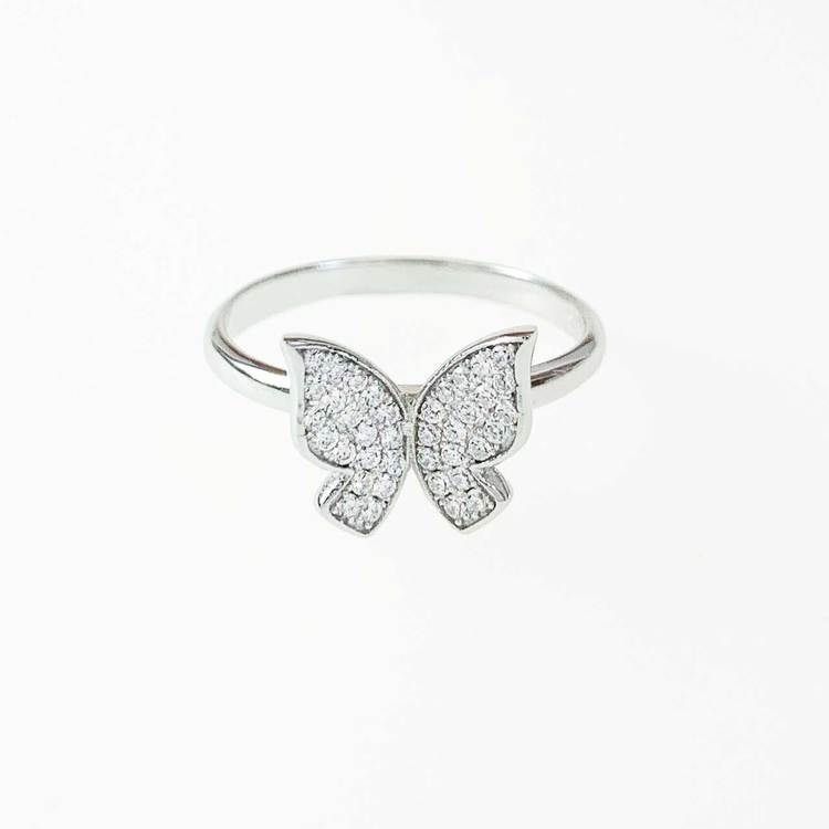 Ring Butterfly Sparkling Silver