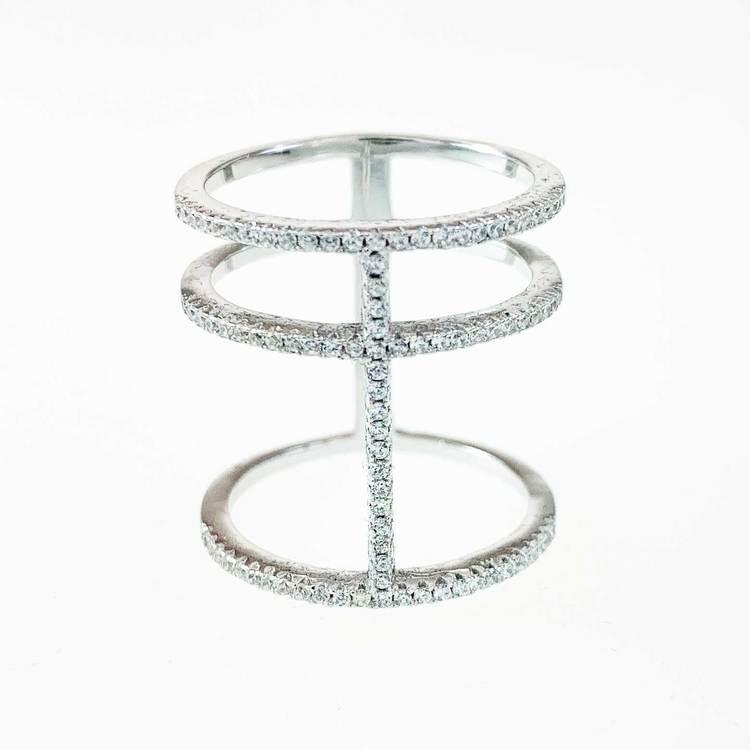 snygg och cool ring i rhodinerat silver 3 Lines från Catwalk Jewellery