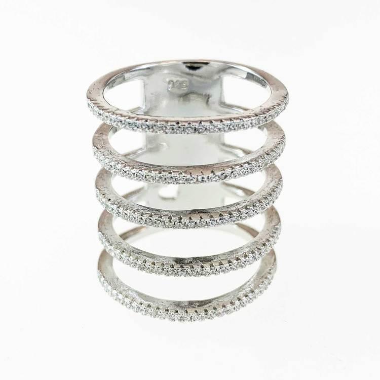 Ring [FIVE LINES] med gnistrande cz-stenar i rhodinerat 925 silver