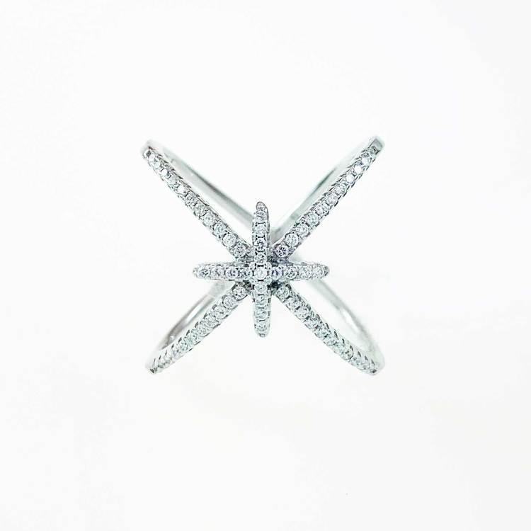 Ring [DOUBLE CROSS] med gnistrande cz-stenar i rhodinerat 925 silver