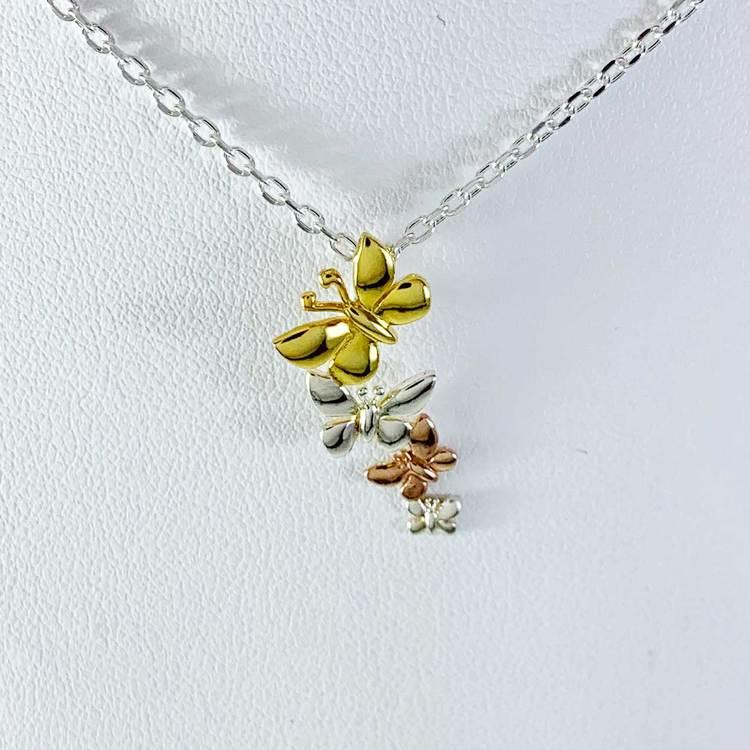 Halsband Butterfly Förgyllt / Roséförgyllt Silver