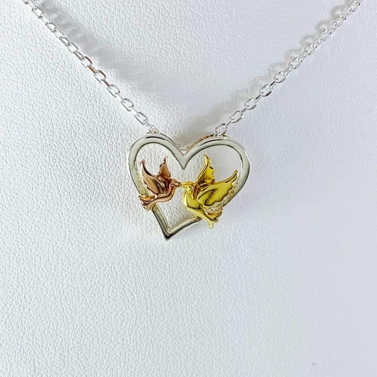 Halsband [LOVE BIRDS] i förgyllt/roséförgyllt 925 silver