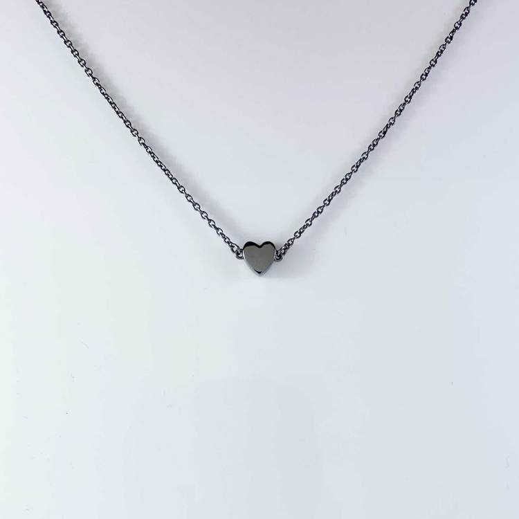 Halsband Small Heart Black Silver