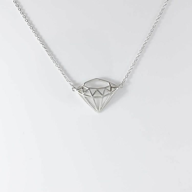 Halsband [DIAMOND] i 925 silver - Finns i silver, svart och förgyllt
