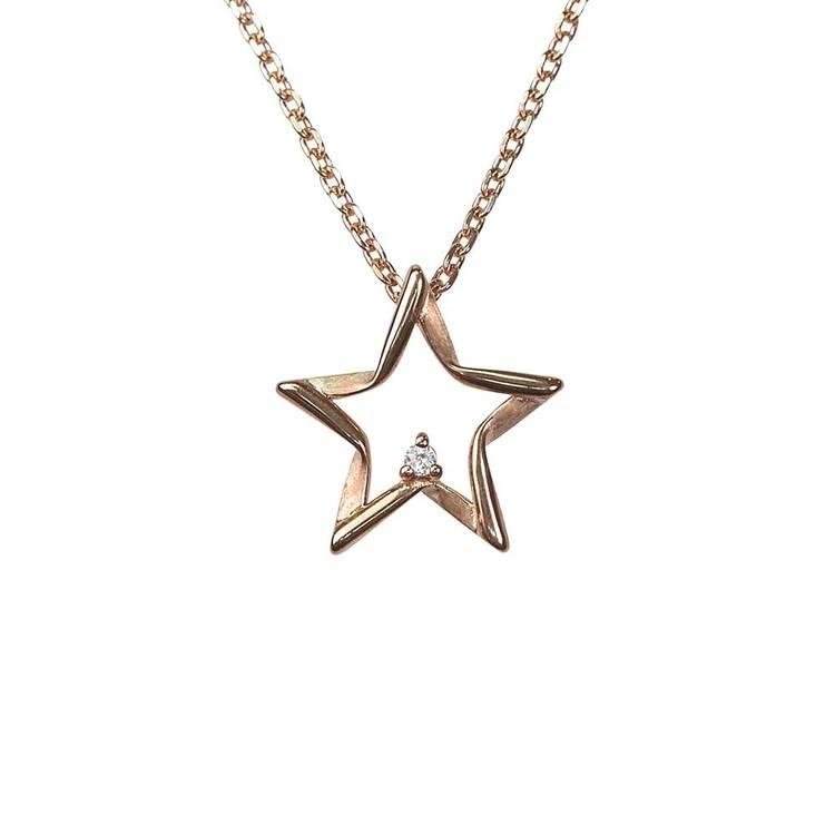 Halsband [STARS] roséguldpläterad med cz-stenar i 925 silver