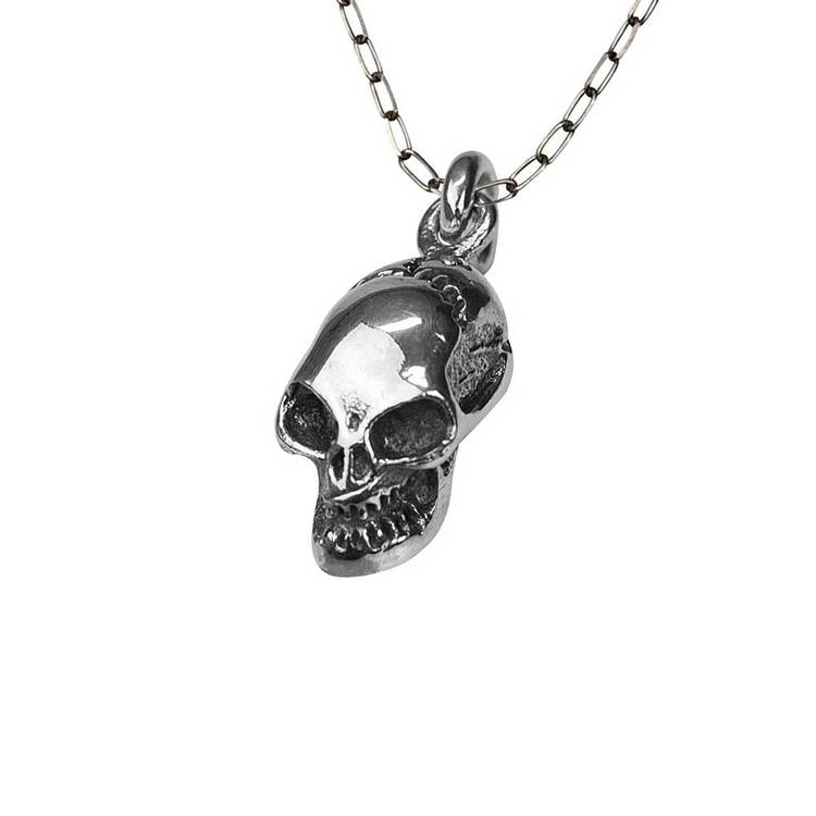Halsband [SKULL] i oxiderat 925 silver