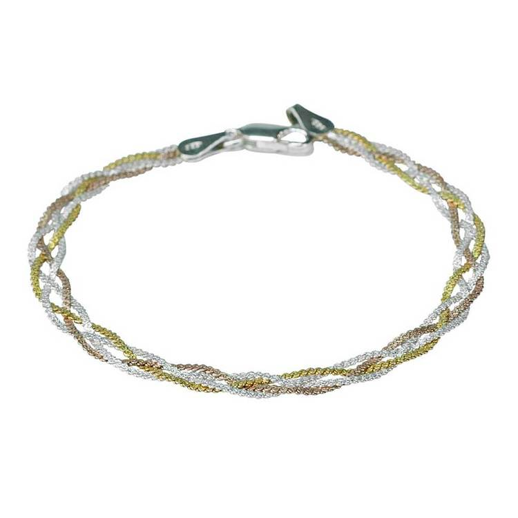 NECKLACE BRAIDED THREE COLOURS SILVER