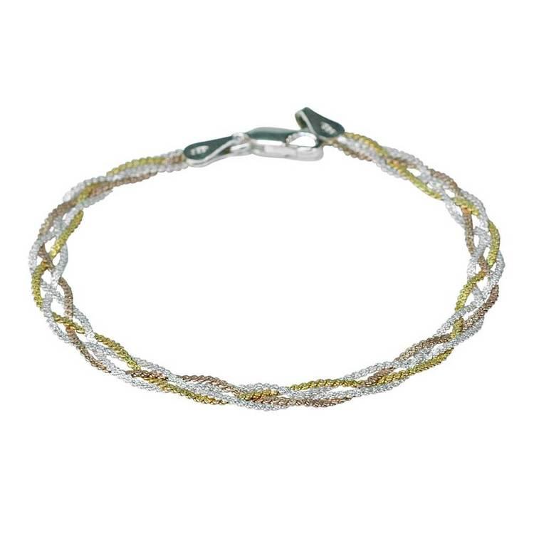 Flätat trefärgat halsband i 925 silver