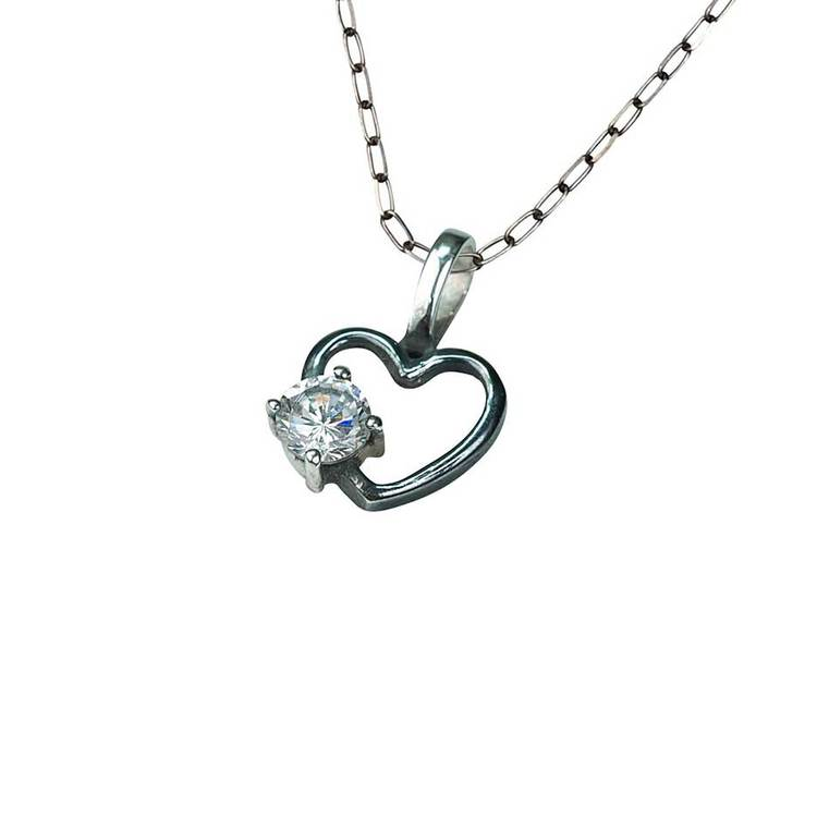 Halsband [HEART] i oxiderat 925 silver