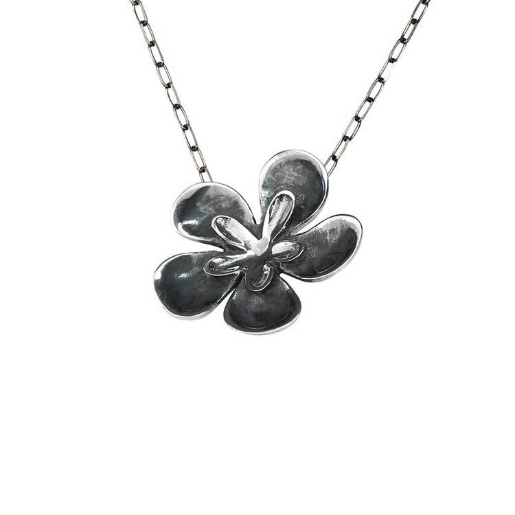 Halsband [FLOWER] i oxiderat 925 silver