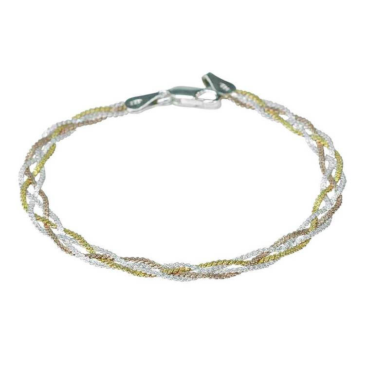 Armband Braided Tricolore Silver
