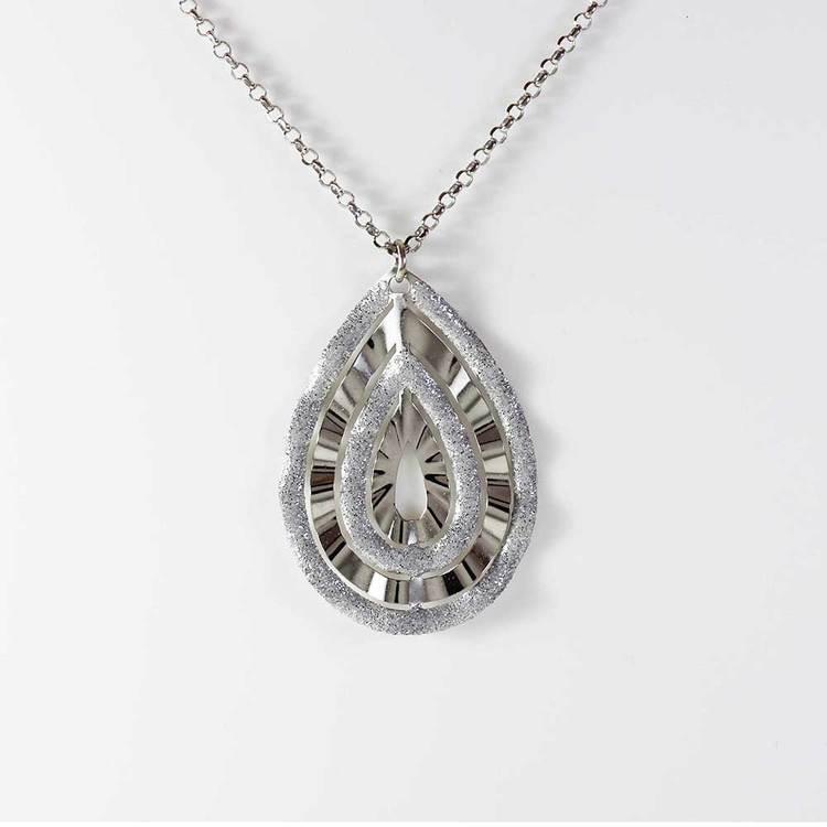 "Halsband ""Bohemian Chic"" i rhodinerat 925 silver - 85 cm"