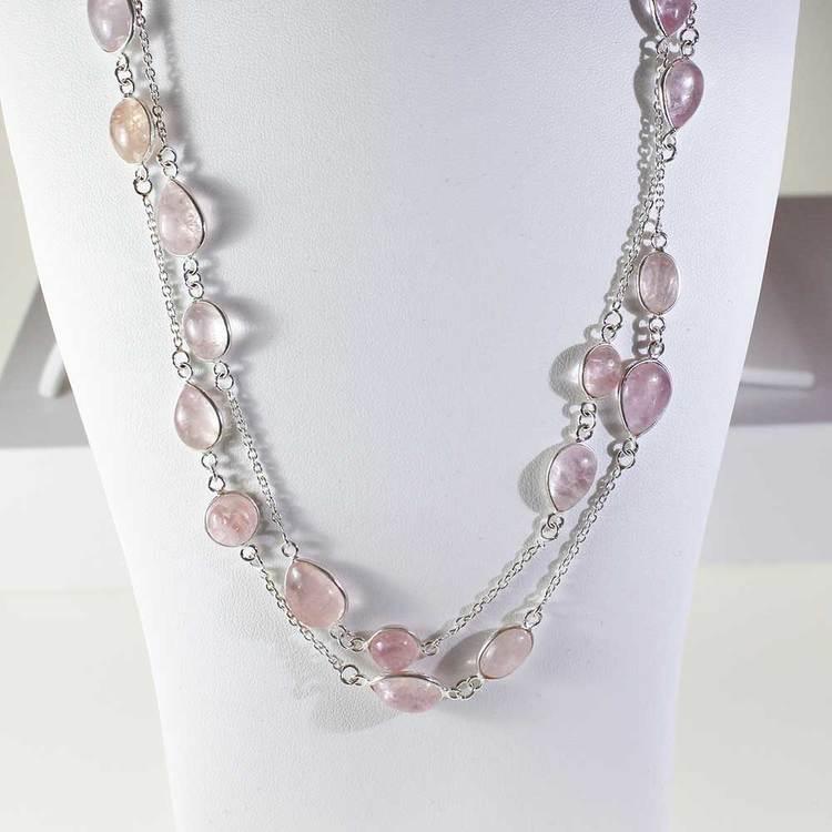 """Halsband med """"Morganite""""-ädelstenar - 85 cm"""