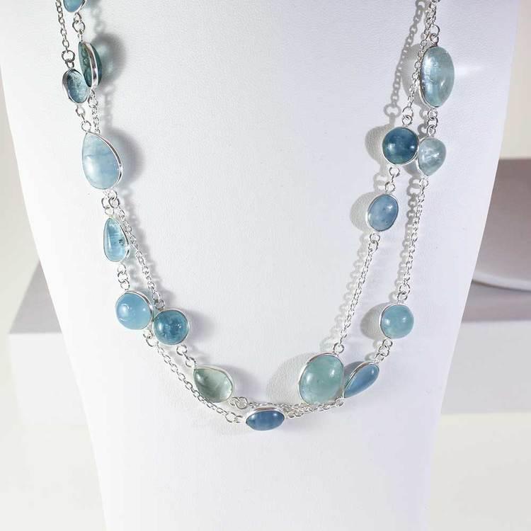 """Halsband med """"Aquamarine""""-ädelstenar - 85 cm"""