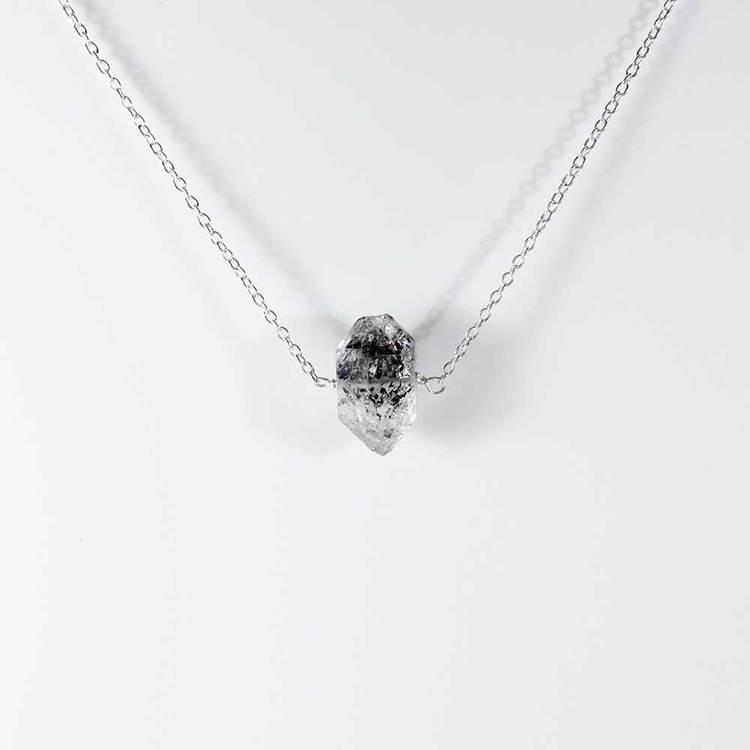 "Halsband med ""Herkimer""-ädelsten - 42+5 cm extension"